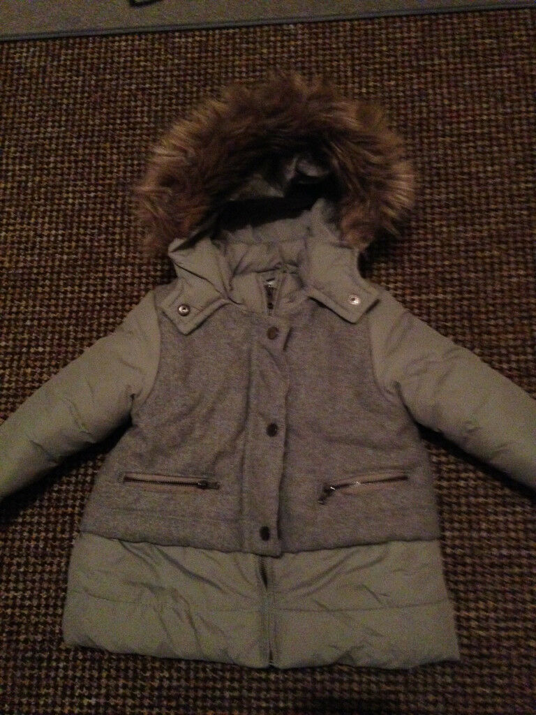 8367a79137ba Baby ZARA Girls Grey Winter Coat Size 12-18months Will Post