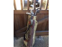 Golf bag and assorted clubs for sale