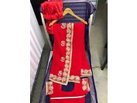Brand NEW red saree with Matt gold & diamanté embroidery