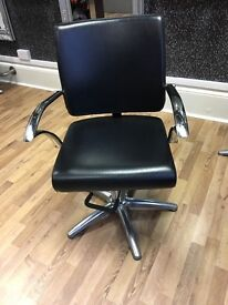 3 Salon hairdressing hydrolic chairs black and chrome