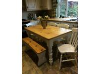 Shabby chic table and 4 chairs and a bench