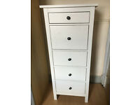 IKEA HEMNES White Stained Wood Chest of Drawers 5 Drawer Tallboy Excellent Condition!