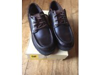 1 PAIR OF MEN DARK BROWN LEATHER CATERPILLER SHOES