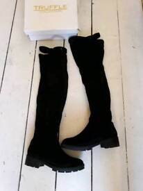 Black Over The Knee Boots Sz 5