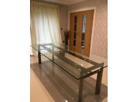 Glass Top Contemporary Dining Table - Brushed Steel Frame Legs.