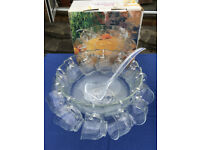 Clear glass New Lavender 27 piece punch bowl set. 1 punch bowl, 1 base, 12 cups, 12 hooks, 1 ladle.