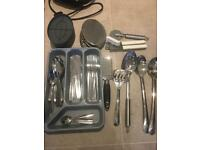 Cutlery, cheese grater, can opener and other cooking utensils