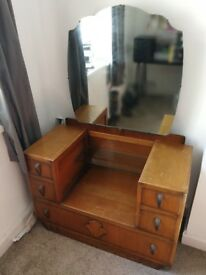 Antique vintage dressing table with large mirror