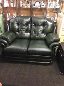 Thomas Lloyd antique green leather sofa