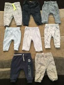 8 pairs baby boy 3-6 months trousers