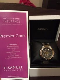 Seiko Solar Mens Watch With Included 3 Year Insurance