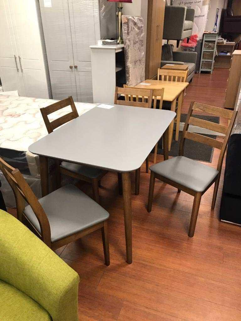 BRAND NEW GREY WALNUT TABLE CHAIRS 199