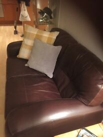 Two x two brown leather brown sofas chunky arms deep cushions very good condition