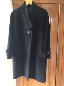 Navy angora and wool Jaeger coat size 12- hardly worn