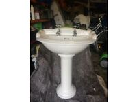Qualitas cloakroom sink and toilet complete with taps and fittings. Used but excellent condition