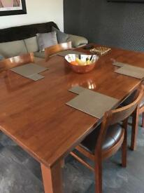 Solid Dark Hardwood Dining Table & Chairs