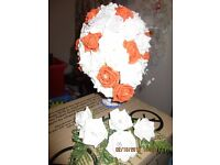 Orange and white wedding Bouquet and white buttonholes