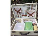 Vintage Picnic Hamper Spotty dots black and white 1950 1960s Original Thermos and tin
