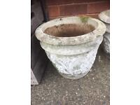 TWO LOVELY VINTAGE HEAVY STONE PLANTERS/POTS