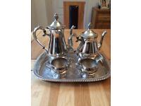 Silver Played Tea/Coffee Set and Tray
