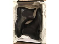 Dune mens black leather Chelsea boots, size 9