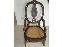 19th century Bentwood Rocking Chair with floral inlay splat and cane seat
