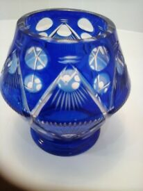 Antique Bohemian Cobalt Blue Flashed Cut To Clear Lens Glass Vase