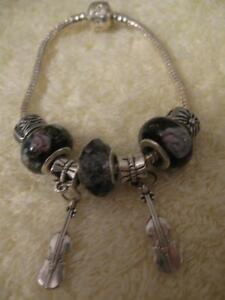 GORGEOUS STERLING SILVER / AMETHYST BRACELET with VIOLIN CHARMS