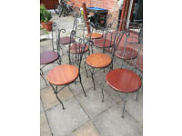 Metal wooden garden chairs used - £3.50 each