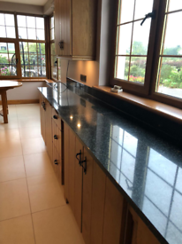Solid oak kitchen & island granite worktop