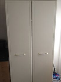 Two Matching White Wardrobes & Three drawer Bedside Table