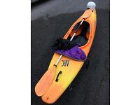 Perception Arc kayak with spraydeck, paddle and helmet.