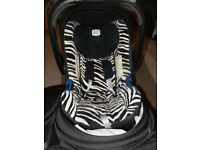britax baby safe zebra print iso fix newborn car seat with iso fix base included.