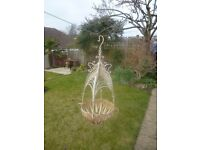 Pair of Shabby Chic wrought iron hanging baskets