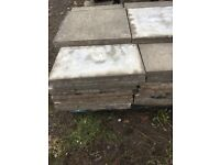 80 2x2 paving flags mostly grey a few red ones ideal shed base no concrete. On them