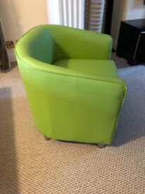 Lime green fux leather chair