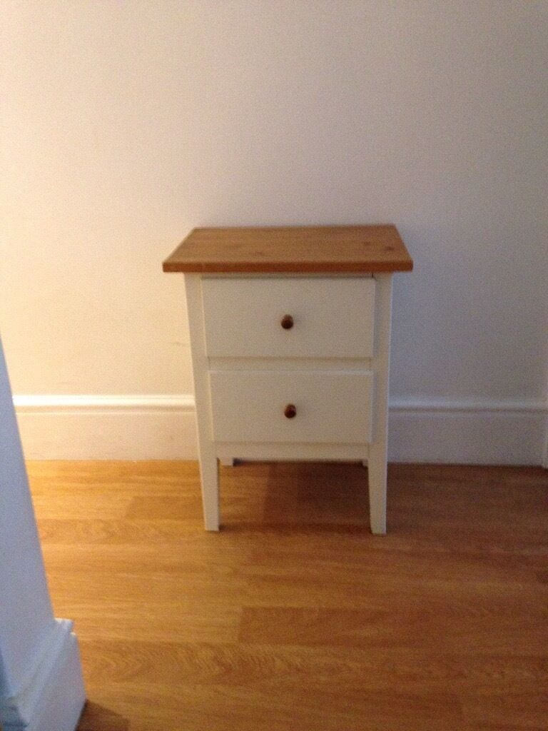 Ikea White 2 Drawer Bedside Table Pine Wood Top