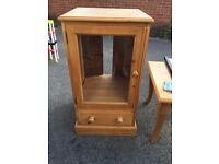 Glass fronted wooden cabinet. Excellent wood and craftsmanship. So Cheap! Collection only.