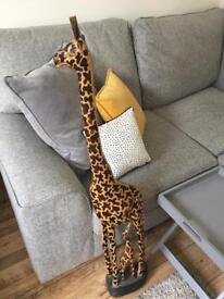 Solid wood giraffe and baby 47 inches tall