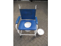 Deluxe Mobile Dual Shower Chair Toilet Commode Wheeled Padded Seat Pod Bathing