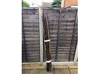 A bundle of 54 black bamboo garden canes - bean poles