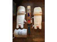 Adults crick bat and wicket keepers pads
