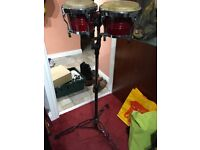 Bongo drums with stand