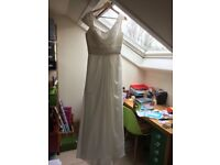 Asymmetrical cowl neck wedding dress