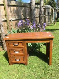Solid rustic antique style pine desk with tiled inserts/porcelain & metal handles (FREE DELIVERY)
