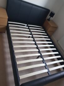 Faux leather bed and mattress. Double. Black