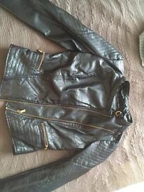 Ladies Black leather jacket size m