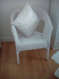 White Basket Chair in Perfect Condition