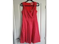 Red and white polka dot dress- v-neck + pockets - size 10 - new