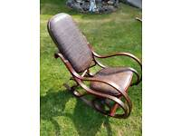 Vintage leather bentwood rocking chair